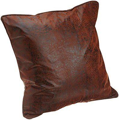 (2) Croscill Plateau Euro Shams Brown Faux Leather Rustic Southwestern Santa Fe  Southwestern Rustic Santa