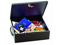 MASTER LOCK - Large Black Metal Key Lockable Box - Safe Cash Document Medication