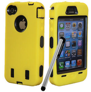 Pen+Hybrid Rugged Rubber Matte Hard Case Cover For iPhone 4G 4S w Screen Guard