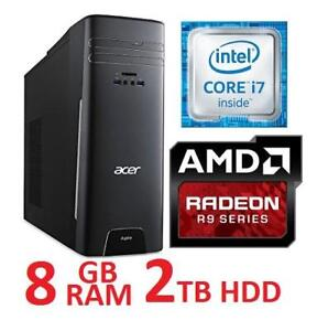 REFURB ACER ASPIRE DESKTOP PC at3-710-es61 139671303 I7 6700 8GB RAM 2TB HDD AMD R9 GPU  NO OS