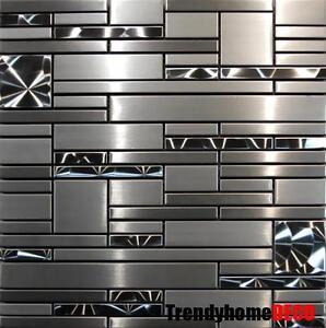 sample stainless steel metal pattern mosaic tile kitchen backsplash