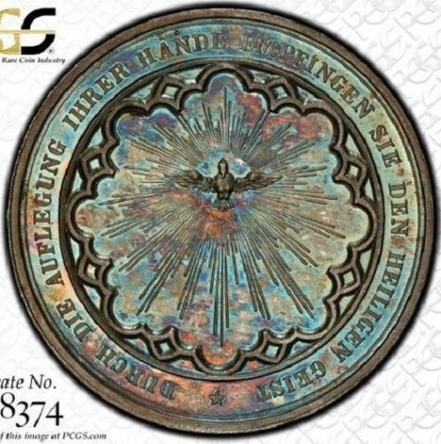 """FINEST"" & ""ONLY ONE"" @ NGC & PCGS MS64 CONFIRMATION MEDAL SILVER TONED GERMANY"