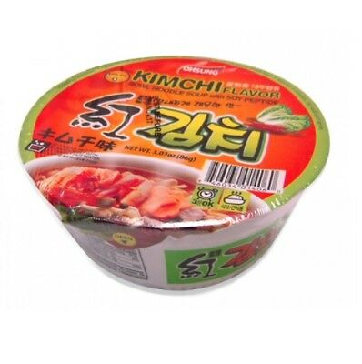Ohsung Kimchi Flavor Bowl Noodle Soup with Soy Peptide, 12 Bowls