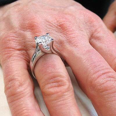 1.54 ct Round brilliant Diamond Solitaire 14k White Gold Ring GIA report K VS2