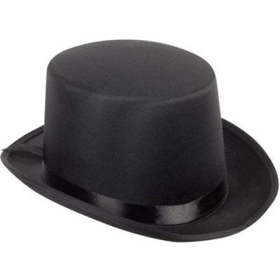 BLACK SATIN TOP HAT MAGICIAN GENTLEMAN ADULT 20'S COSTUME TUXEDO VICTORIAN   - Top Hat Costume