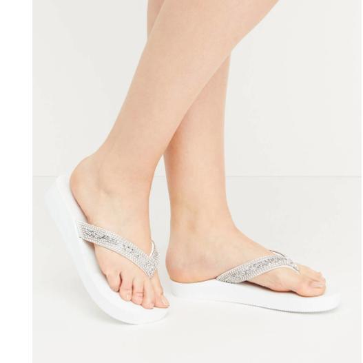Lane Bryant Sandals, Wide Width Flip Flops, White, Sparkle R