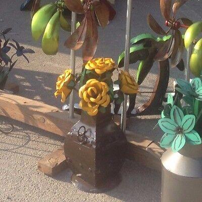 Rustic Metal Yellow Rose Bush on a metal, brown vase which measures 22