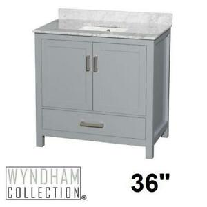 "NEW SHEFFIELD 36"" BATHROOM VANITY WCS141436SGYCMUNSMXX 139559572 WYNDHAM COLLECTION GREY CABINET CARRERA MARBLE TOP C..."
