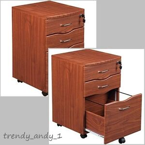 3 Drawer Rolling File Cabinet Storage Lock u0026 Key Office Mahogany Furniture  Home