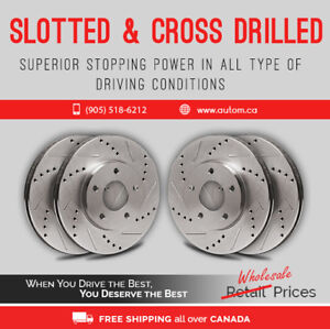 Slotted and Cross Drill Rotors with Breakpads