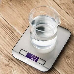 NEW ETEKCITY DIGITAL KITCHEN SCALE 229122712 Multifunction Food 11 lb 5 kg SILVER STAINLESS STEEL BATTERIES INCLUDED