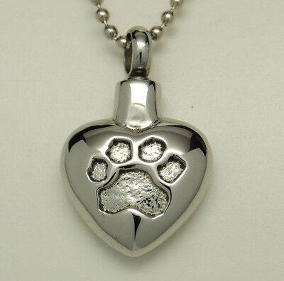 Shiny Paw Heart Cremation Urn Necklace   Dog or Cat Ashes Keepsake   Engraveable