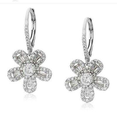 CZ by Kenneth Jay Lane Multi-Cubic Zirconia Lever Baguette Flower Drop Earrings