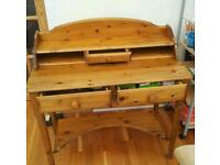 Victoria ltd. Pine writing desk and stool