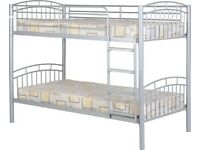 LAST SET New strong SILVER METAL bunk beds £239 AVAILABLE NOW PIC 1