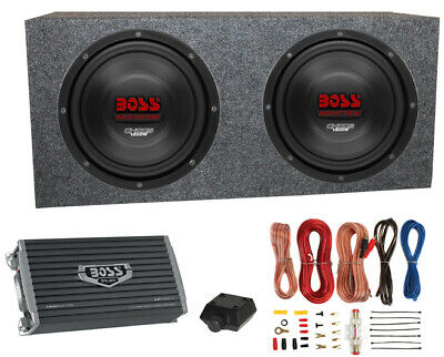 "2) Boss CH12DVC 12"" 3600W Car Subwoofers Subs+Sealed Box Enclosure+Amp+Amp Kit"