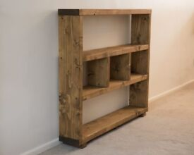 HANDMADE SOLID WOOD RUSTIC CHUNKY BOOK CASE/SHELVING UNIT