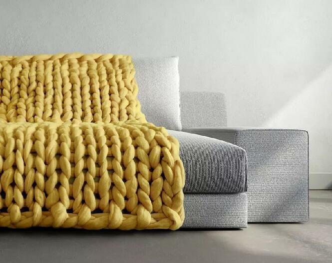 MultiColor Große Warme Knitted Strickdecke Thick Garn Wolle Bulky Chunky Gelb