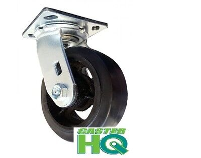 "CASTERHQ-6"" x 2"" Rubber on Iron Wheel - Dumpster & Trash Container Swivel Caster"