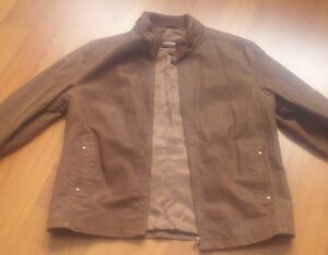 Danier Classic stand collar brown suede leather jacket like new