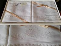 Lenzuola In Puro Lino Bianco,ricamata Ad Arte , ,bellavia, -  - ebay.it