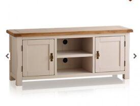 KEMBLE Rustic Solid Oak & Painted Large TV Unit