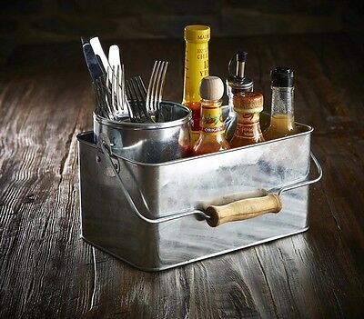 Galvanised Steel Rectangular Table Caddy 24.5x15.5x12.5cm Restaurant Condiments