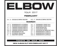 1 x Elbow standing ticket, Saturday 18th March, O2 Apollo Manchester