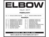 4 x Elbow standing tickets, o2 Apollo Manchester, Sunday 19th March