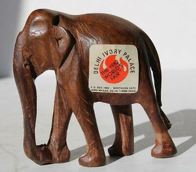 Elephant Figurine Wooden Carved Delhi Ivory Palace 1982 World's Fair - Palace Elephants