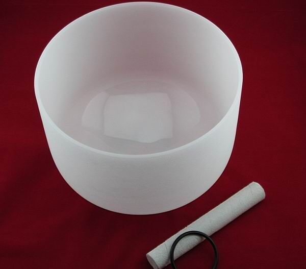 Perfect Pitch F Note Frosted 12 Inch QUARTZ CRYSTAL SINGING BOWL Heart Chakra