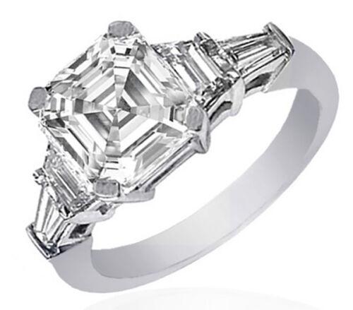 GIA Certified 3.00 Carat Asscher Shape Anniversary Diamond Ring 18K WG
