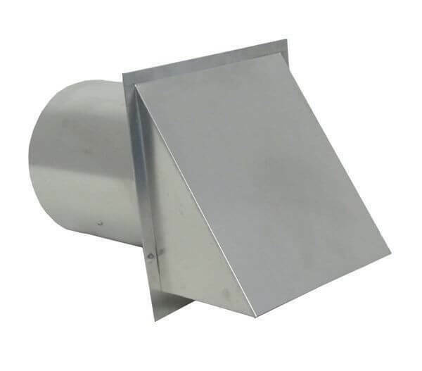 """8"""" Wall Vent with Damper - Round, Hooded, Galvanized Steel, 28 Gauge- NEW"""