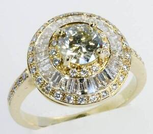 1.65 ct Diamond cluster ring 18 ct yellow gold Champagne centre Buderim Maroochydore Area Preview