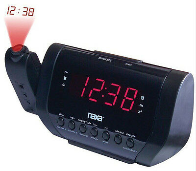 Naxa AM FM Dual Alarm Time Wall Ceiling Projection Clock Radio Presets in Black