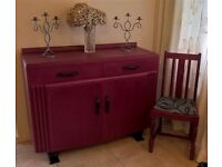 Art deco sideboard hand painted with matching chair