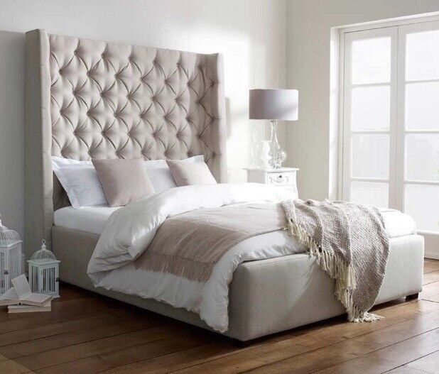 King Size Bold Tall Headboard Upholstered Bed