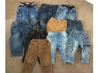 11 pairs of boys trousers size 9-12 months
