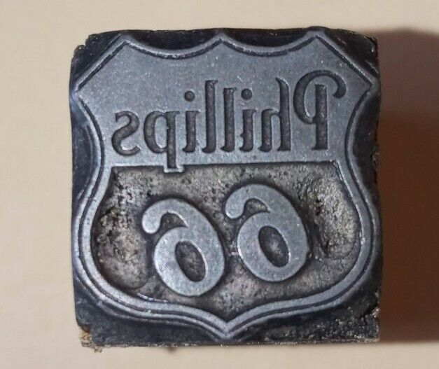1960s Newspaper Printing Block Wood WICHITA FALLS TX - Phillips 66 Petroleum