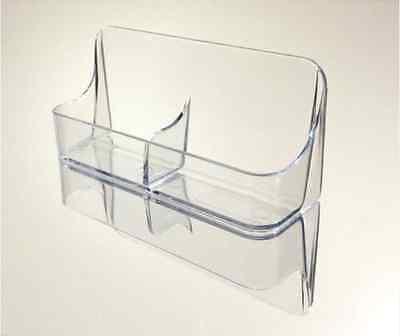 Vertical Double Pocket Plastic Desk Top Business Card Holder - Clear Vrt-2s
