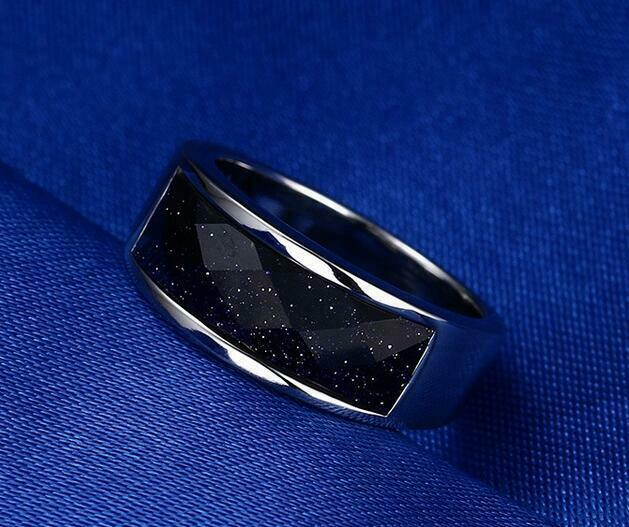 Mens Wedding Anniversary Stainless Steel Blue Sandstone Ring Band 8MM Size 6-10