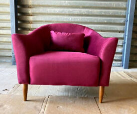 Velvet Armchair - Cranberry