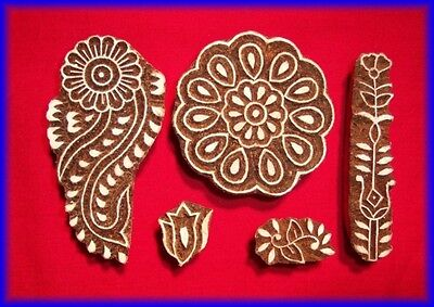 5 HENNA TATTOO STAMPS WOODEN BLOCKS FLORAL MODEL INDIA
