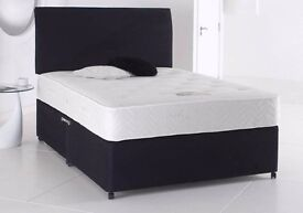 【Brand New】DOUBLE / KING SIZE BLACK DIVAN BED WITH 10 INCH ORTHOPEDIC MATTRESS AND FAST DELIVERY