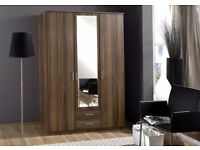 CLASSIC SALE = BRAND NEW 3 / 4 DOOR WALNUT COLOR OSAKA WARDROBE WITH MIRROR AND DRAWERS