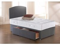 💥Bed Base For 29 💥90% OFF💥 New Single Divan Bed w 9 inch Semi Ortho Deep Quilt Mattress £69 Only
