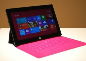 Microsoft tablet surface with pink keyboard