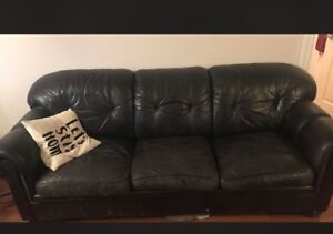 Pull-out leather couch