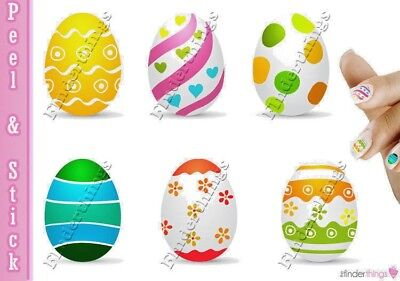 Easter Egg Colorful Cute Nail Decal Sticker set EGG901 (Easter Egg Colors)