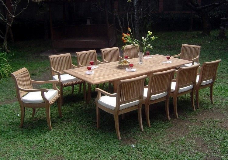 """11-piece Outdoor Teak Dining Set: 94"""" Rectangle Extn Table, 10 Arm Chairs Giva"""